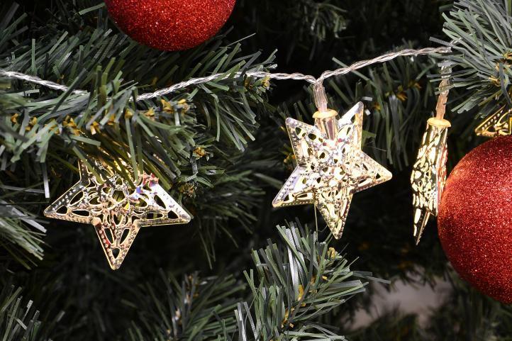 Vánoční LED osvětlení - stříbrné hvězdy - teple bílá 20 LED