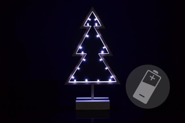 OEM D33211 Vánoční stromek studená bílá, 20 LED, 38 cm