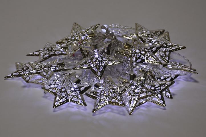 Vánoční LED osvětlení - stříbrné hvězdy - studené bílá 20 LED