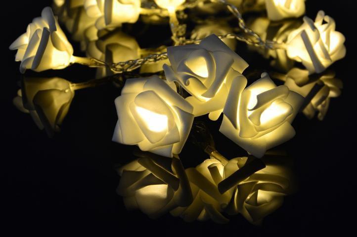 Dekorační LED osvětlení - růže - 20 LED, teplá bílá