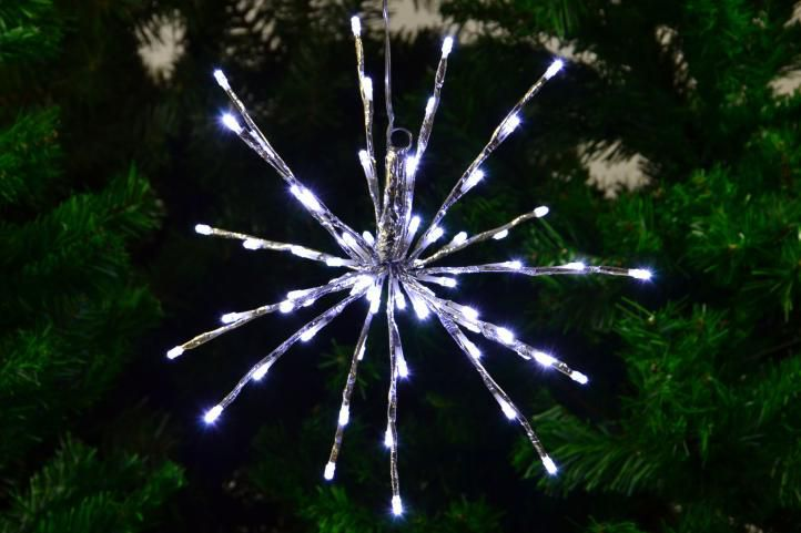 Vánoční osvětlení - meteorický déšť - studená bílá, 64 LED, 30 cm