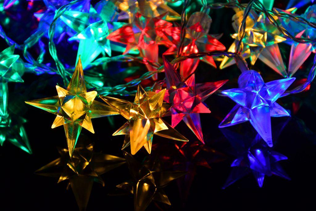 Vánoční LED osvětlení - barevné hvězdy, 40 LED