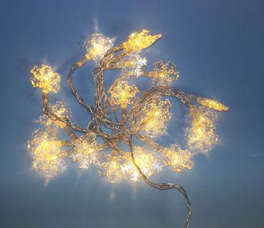 Vánoční LED osvětlení - sněhová vločka - teple bílá 20 LED
