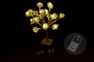 Světelná LED dekorace - růže - 20 LED, teple bílá