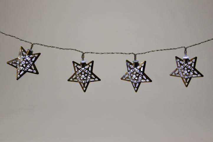 Vánoční LED osvětlení - stříbrné hvězdy - studené bílá 10 LED