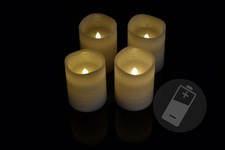 Dekorativní LED sada – 4 adventní svíčky – bílá