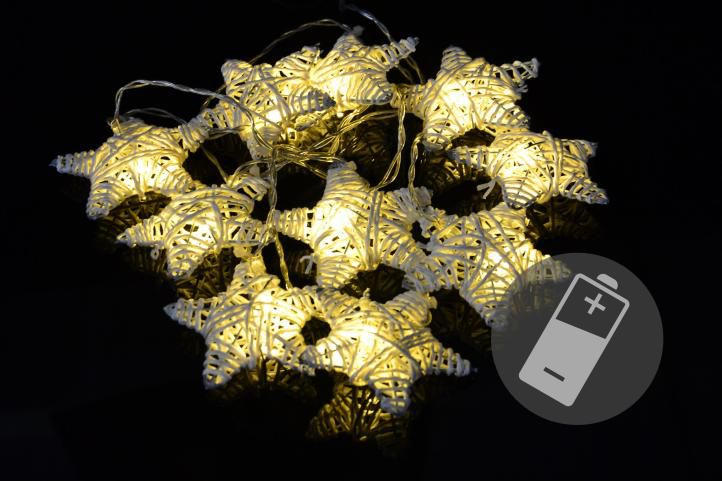 Vánoční LED řetěz - hvězdy - 10 LED, teple bílá