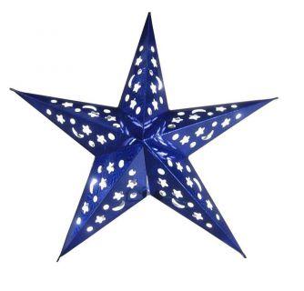Vánoční dekorace - papírová hvězda 60 cm - 10 LED, modrá