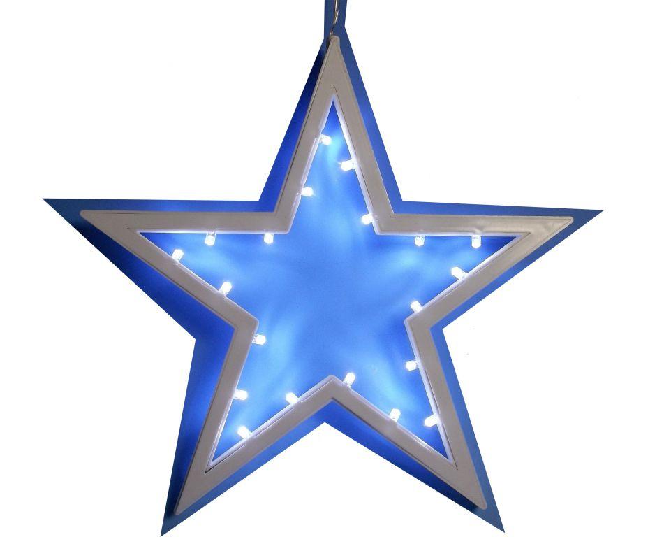 Vánoční dekorace - závěsná hvězda - studená bílá 25,5 cm 20 LED