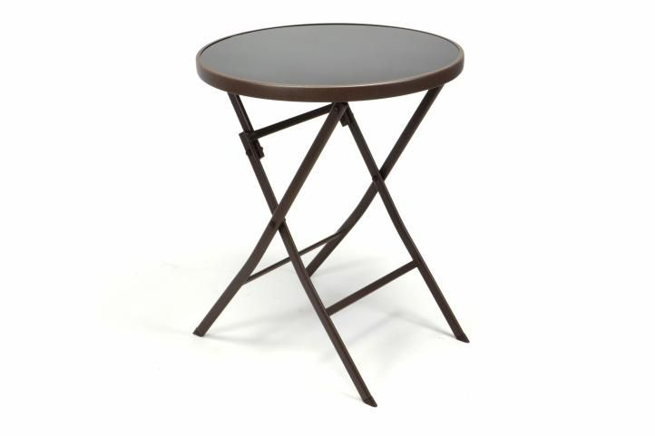 Zahradní bistro stolek skleněný se sklopnou deskou - hnědý