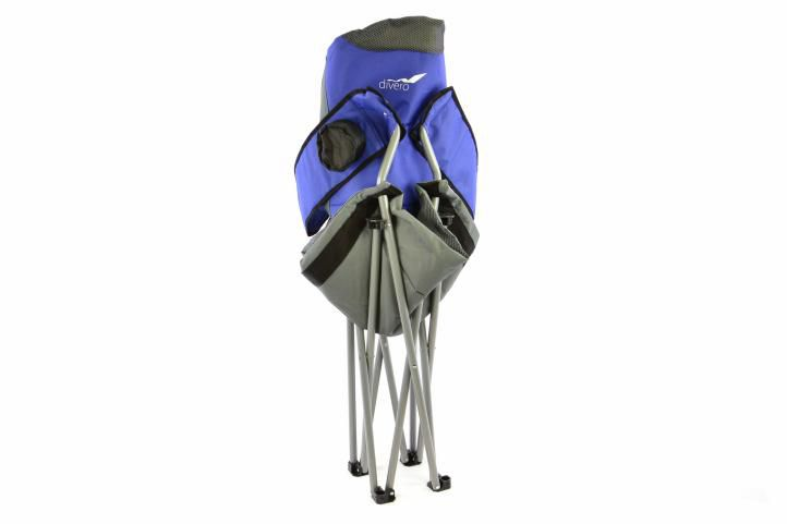 Skládací kempingová rybářská židle Divero Deluxe - modro/šedá