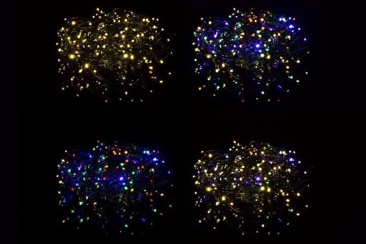 Vánoční světelný řetěz blikající - 200 LED 20 m - barevná/teple bílá