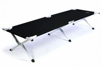 Přenosná hliníková skládací postel DIVERO 210 x 64 x 42 cm - černá