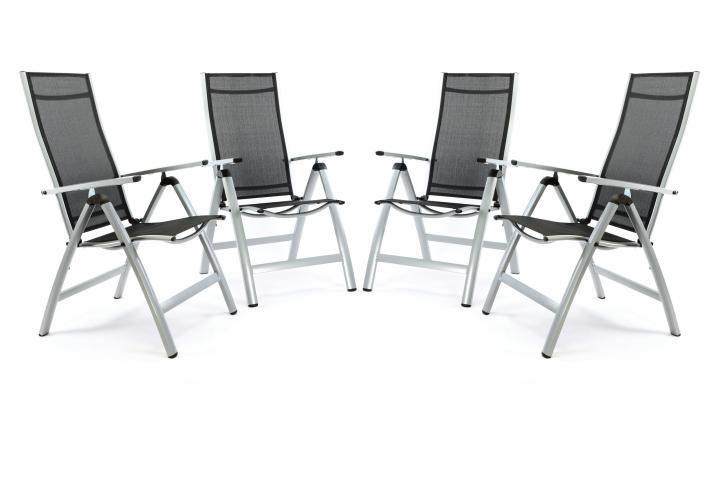Sada 4 ks luxusních hliníkových extra širokých polohovatelných židlí