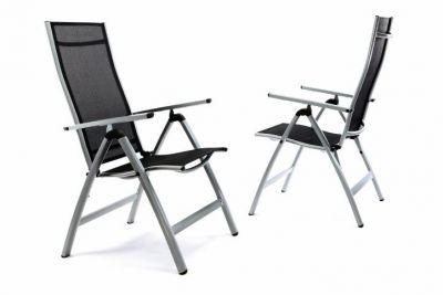 Sada 2 x extra široké zahradní židle polohovatelná - černá