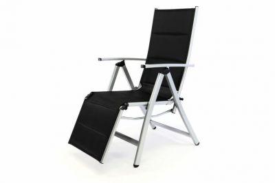 DELUXE polohovatelná zahradní židle s opěrkou nohou