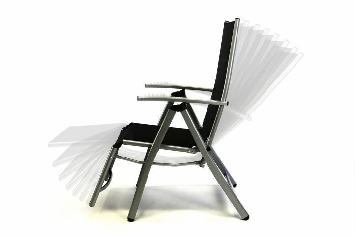 Sada 2 ks DELUXE zahradní polohovatelných židlí s opěrkou nohy - černá