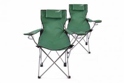Sada 2 ks skládací kempingová židle DIVERO s polštářkem - zelená
