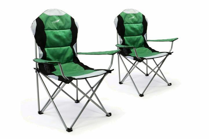 Sada 2 ks skládací kempingová rybářská židle Divero Deluxe - zeleno/černá
