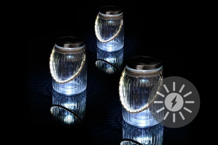 Sada 3 kusů solárního osvětlení - závěsná sklenice