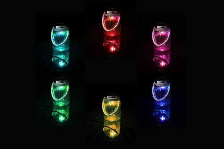 Sada 3 ks dekorativní solární osvětlení - závěsná sklenice - LED měnící barvu