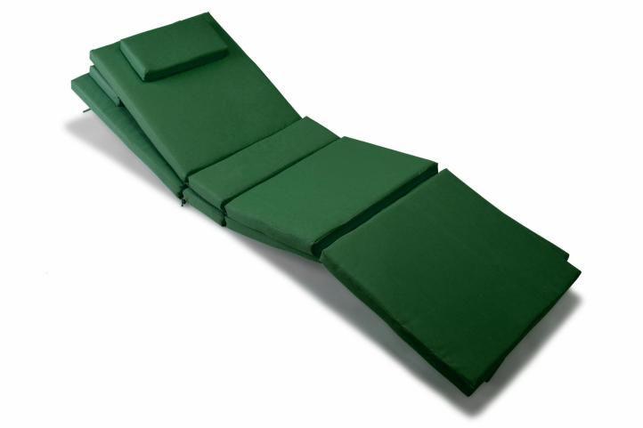 Divero 36873 Sada 2 ks polstrování na lehátko - tmavě zelená