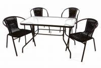 Zahradní polyratanový set - 4 židle a skleněný stůl