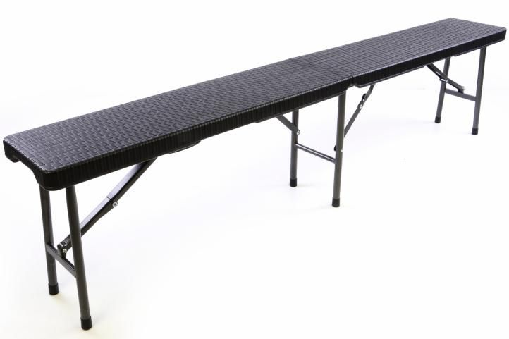 Skládací zahradní lavice - černý ratanový design 180x25 cm