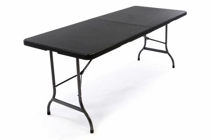 Zahradní skládací stůl v ratanovém vzhledu - 180 x 75 cm, černý