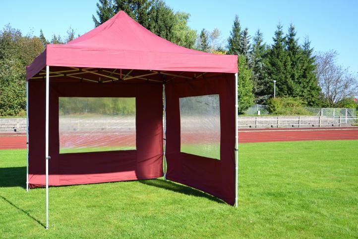 Zahradní párty stan nůžkový PROFI 3x3 m vínový + 2 boční stěny