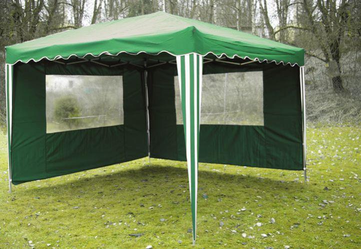 Zahradní párty stan nůžkový zelený 3 x 3 m + 2 boční stěny