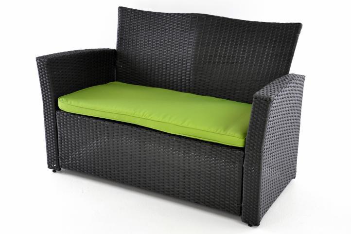 Exkluzivní zahradní set z polyratanu - černá/zelená