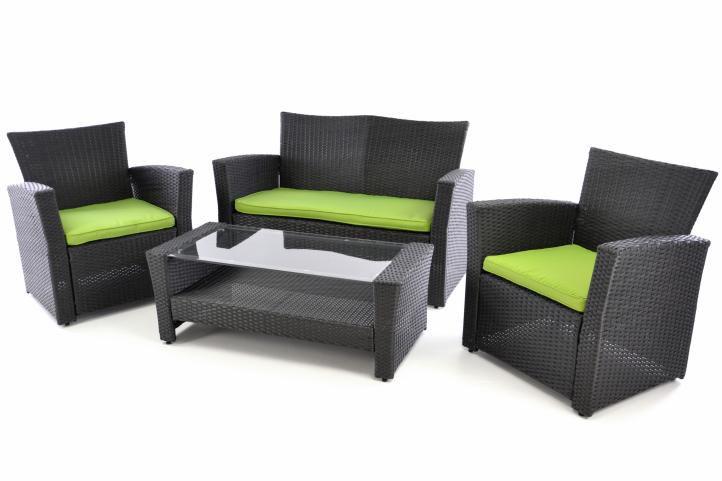 Exkluzivní zahradní set z polyratanu - černá/zelená OEM D38403