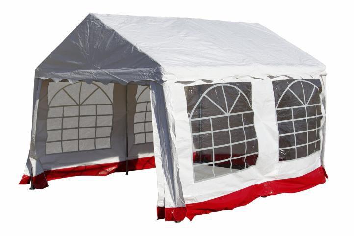 Garthen 391 Zahradní párty stan - bílý s červeným lemem 3 x 4 m
