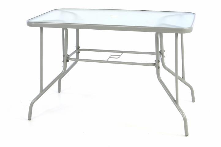 Zahradní obdélníkový stůl BISTRO se skleněnou deskou - šedá