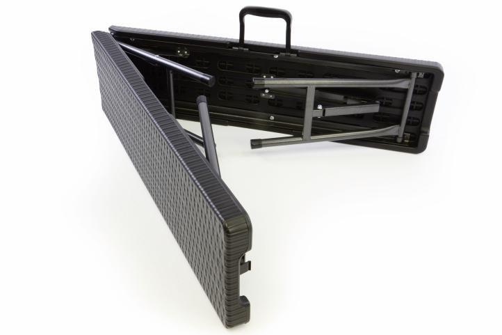 Zahradní set lavice a stůl v ratanovém designu - černá
