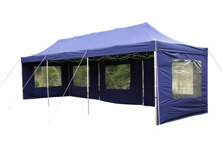 Zahradní skládací párty stan PROFI – modrý, 3 x 9 m