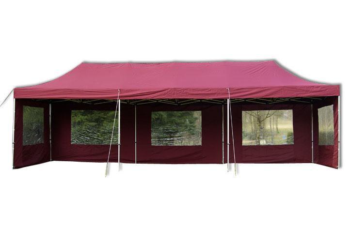 Zahradní skládací párty stan PROFI – vínový, 3 x 9 m