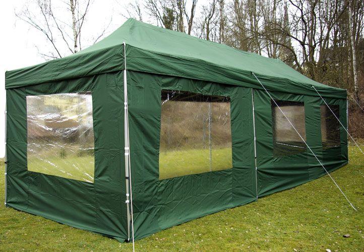 Zahradní skládací stan - zelený, 3 x 9 m