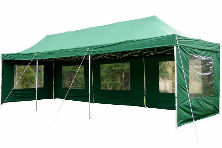 Zahradní skládací párty stan PROFI – zelený 3 x 9 m