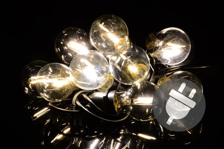 Garthen 40613 Zahradní párty osvětlení LED - skleněné žárovky - 5 m teple bílá