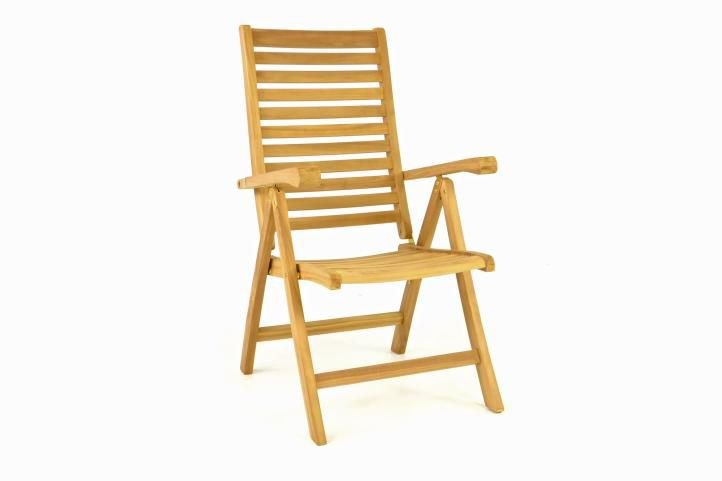 Dřevěná polohovatelná židle DIVERO - týkové dřevo
