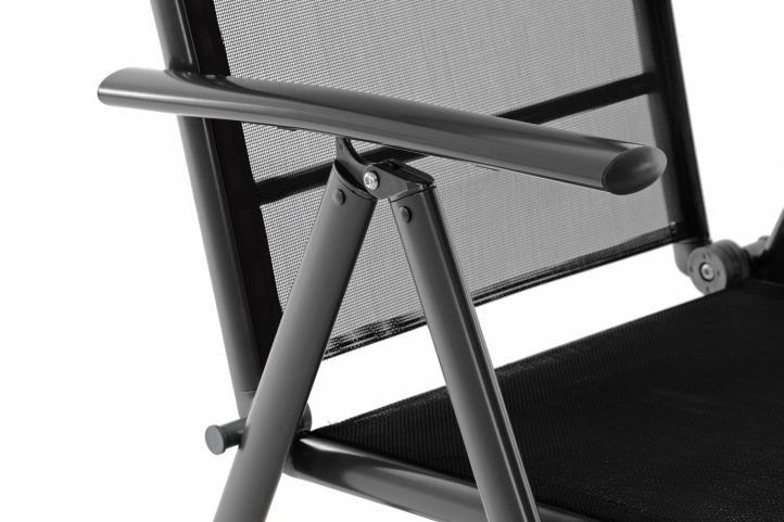 Skládací zahradní hliníková židle - černá