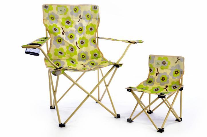 Dětská skládací židle béžová - květinový vzor