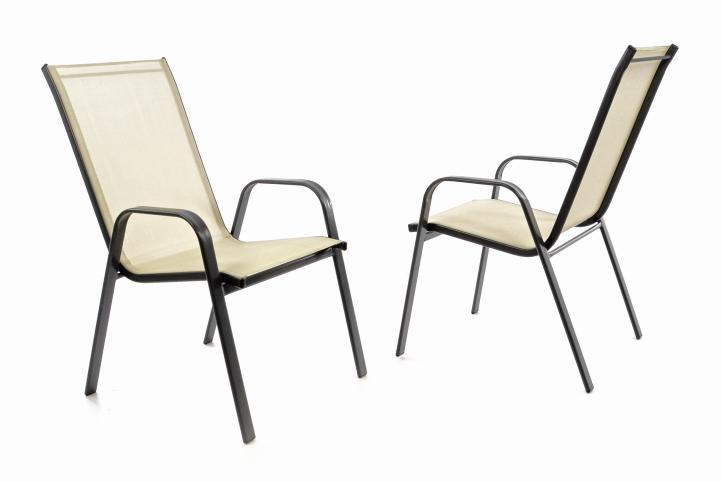 Zahradní sada 2 x stohovatelná židle balkonová – krémová