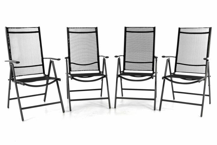 Sada čtyř zahradní polohovatelných židlí - černá