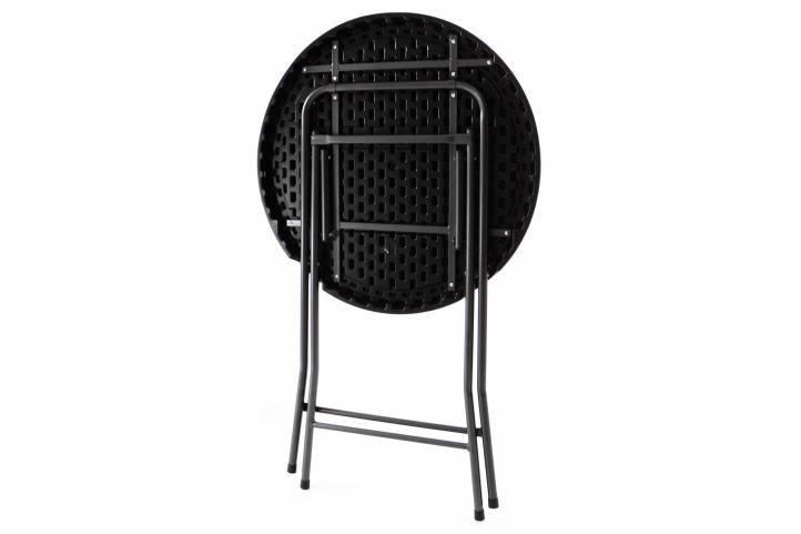 Zahradní barový stolek kulatý - ratanová optika 110 cm - černý