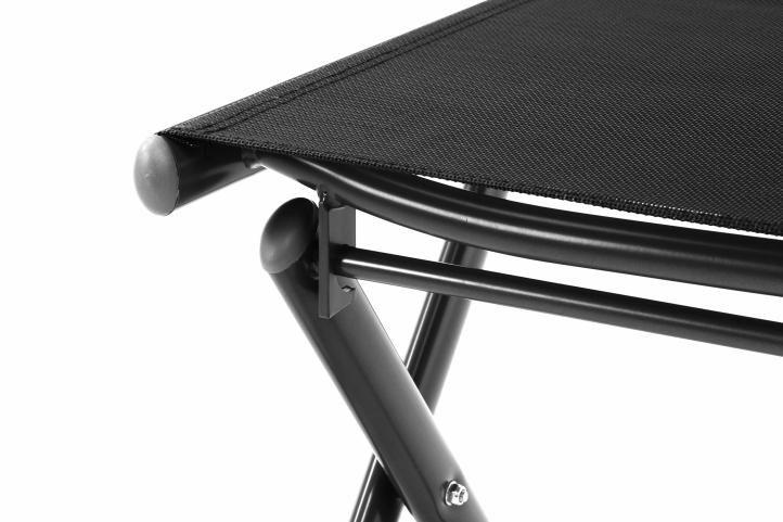 Zahradní polohovatelná židle + stolička pod nohy - černá