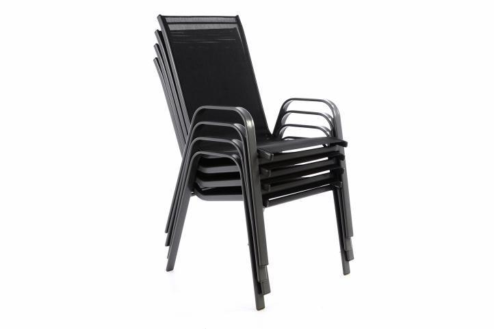 Zahradní sada 4 x stohovatelná židle balkonová - černá