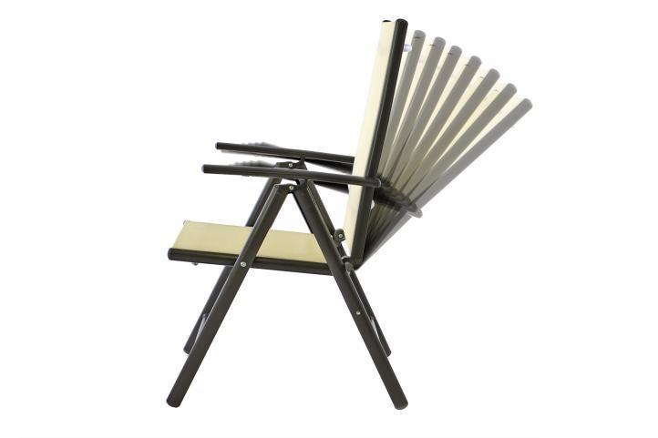 Sada čtyř zahradních polohovatelných židlí – krémová